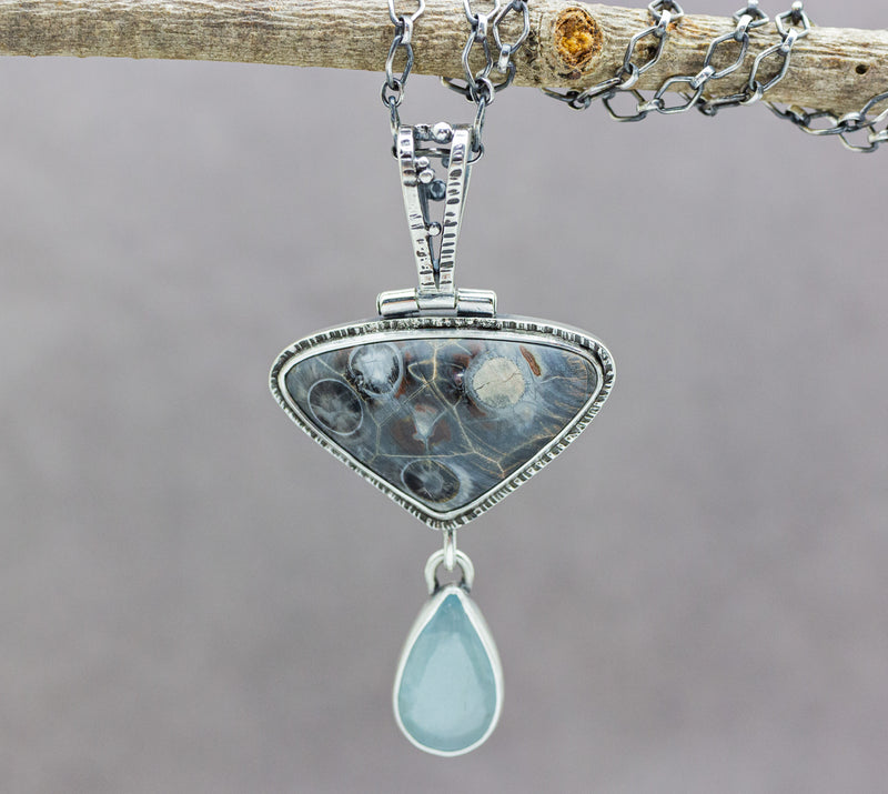 Aquamarine and Rose of Chihuahua Jasper One Of a Kind Gemstone Necklace