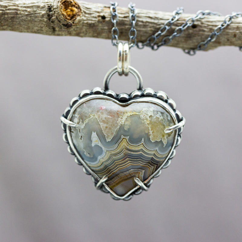 Laguna Agate Heart Pendant Necklace Sterling Silver