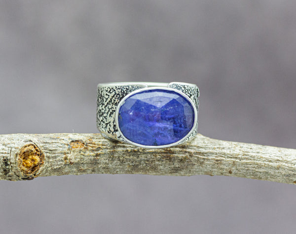 Blue Tanzanite Sterling Silver Wide Band Ring