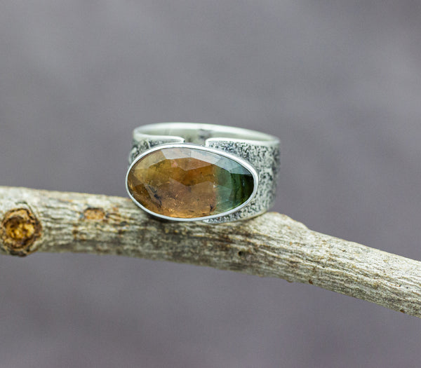 Peach to Blue Tourmaline Sterling Silver Wide Band Ring