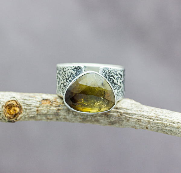 Honey Whisky Tourmaline Sterling Silver Wide Band Ring