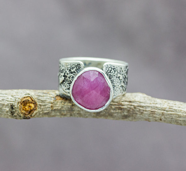Pink Sapphire Sterling Silver Wide Band Ring