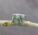 Blue to Green Tourmaline Sterling Silver Wide Band Ring