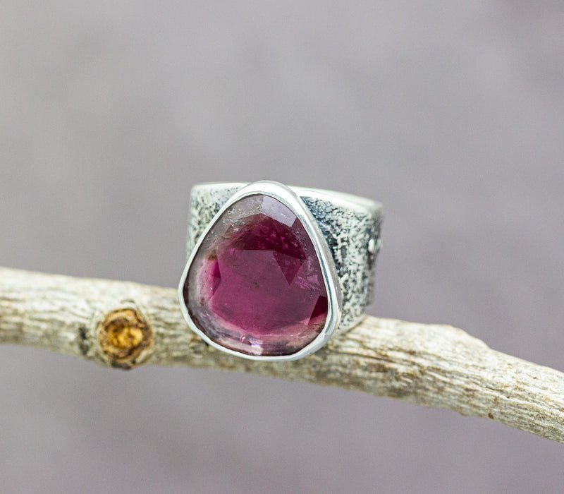 Pink Tourmaline Sterling Silver Wide Band Ring