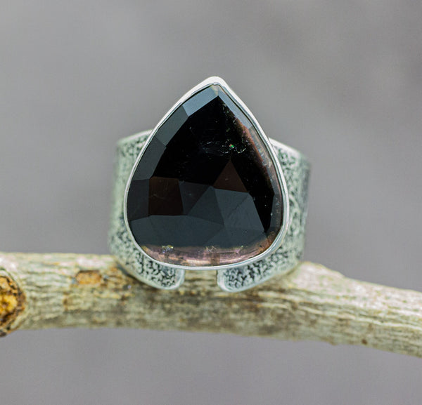 Black and Pink Tourmaline Sterling Silver Wide Band Ring