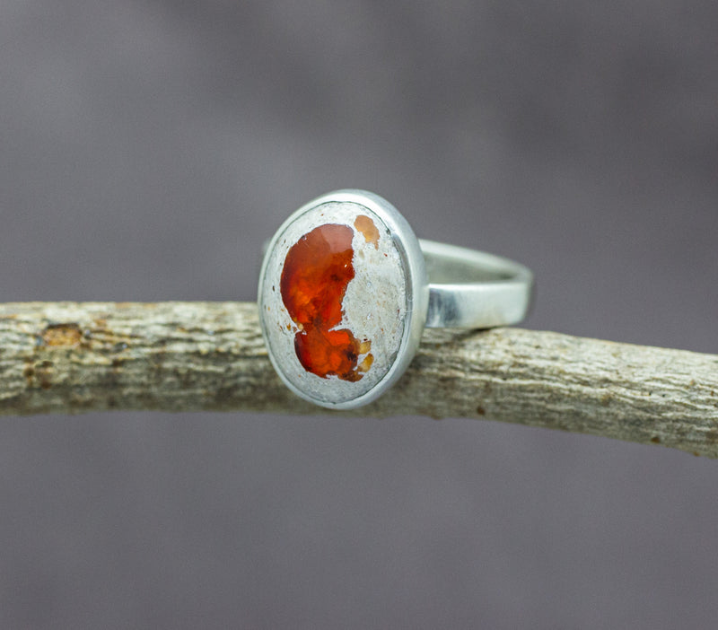 Mexican Fire Opal Ring in Sterling Silver #2