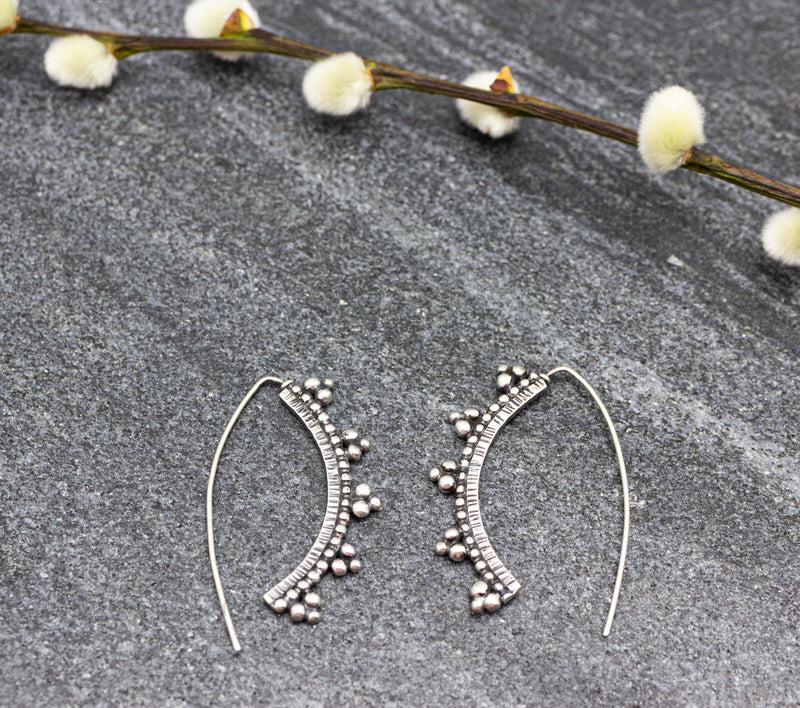 Granulated Arc Earrings in Sterling Silver