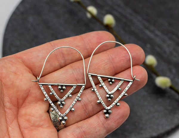 Granulated Kinetic Double Triangle Hoop Earrings in Sterling Silver
