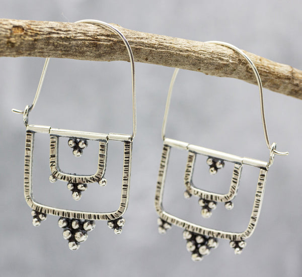 Granulated Kinetic Double Rectangle Earrings in Sterling Silver