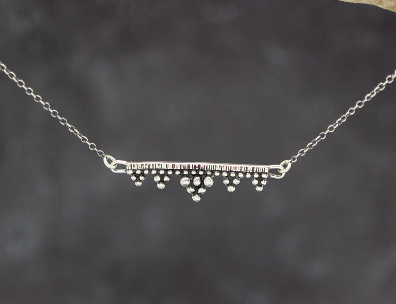 Straight Bar Granulation Necklace Sterling Silver and Fine Silver