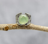Green Prehnite Sterling Silver Wide Band Ring #30