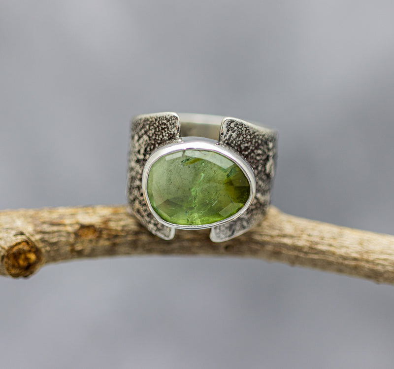 Green Tourmaline Sterling Silver Wide Band Ring #28