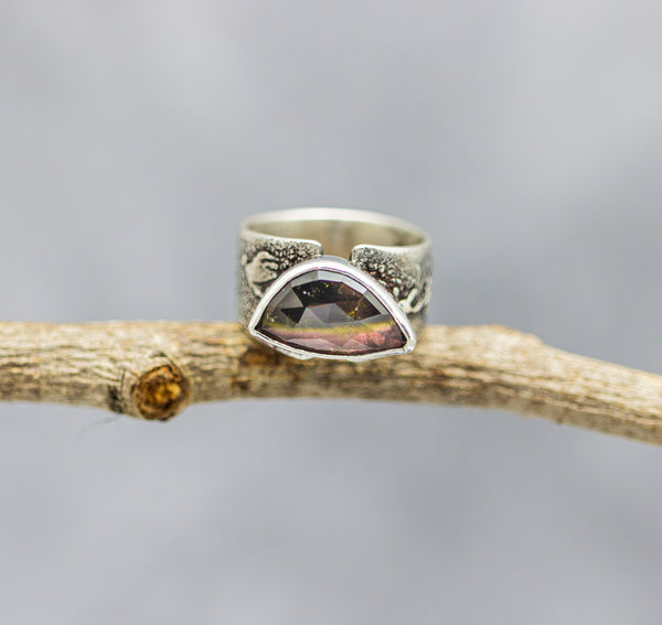 Honey Whisky Tourmaline Ring Sterling Silver Wide Band Statement Solitaire Ring
