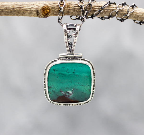 Opalized Petrified Wood Sterling Silver One Of a Kind Gemstone Necklace