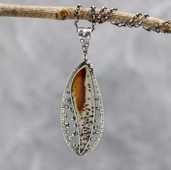 Montana Agate Sterling Silver One Of a Kind Gemstone Necklace