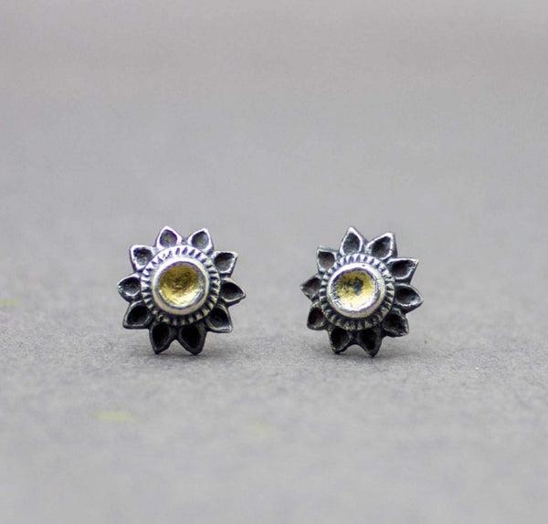 Sunflower Stud Earrings Fine and Sterling Silver and 22k Gold