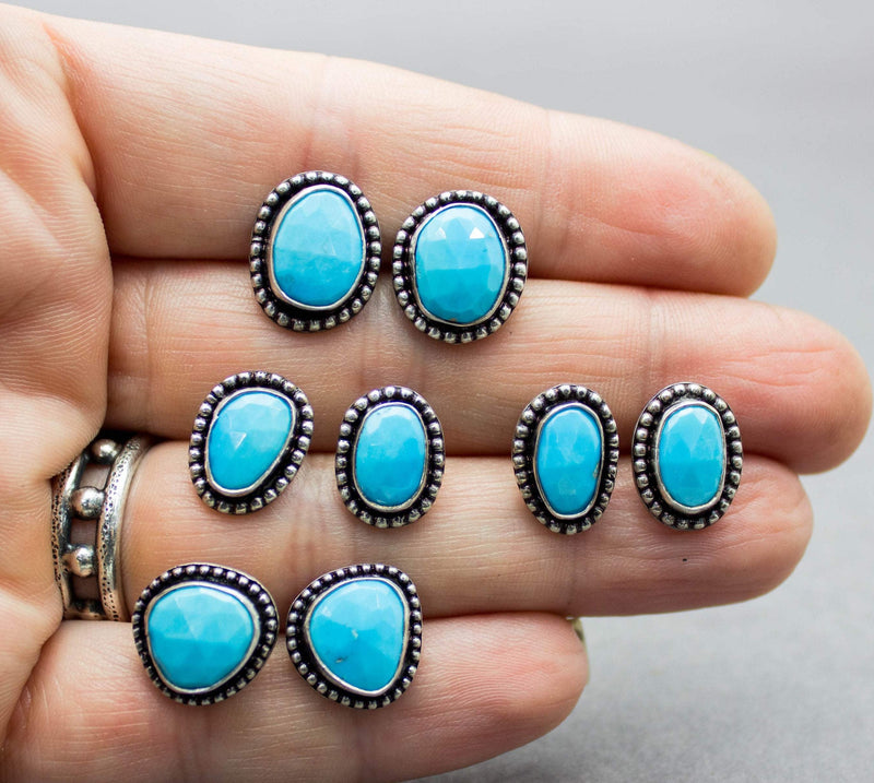 Sleeping Beauty Turquoise Stud Earrings Sterling Silver
