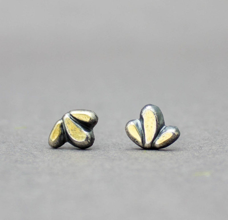 Three Petals Earrings Sterling Silver and 22k Gold