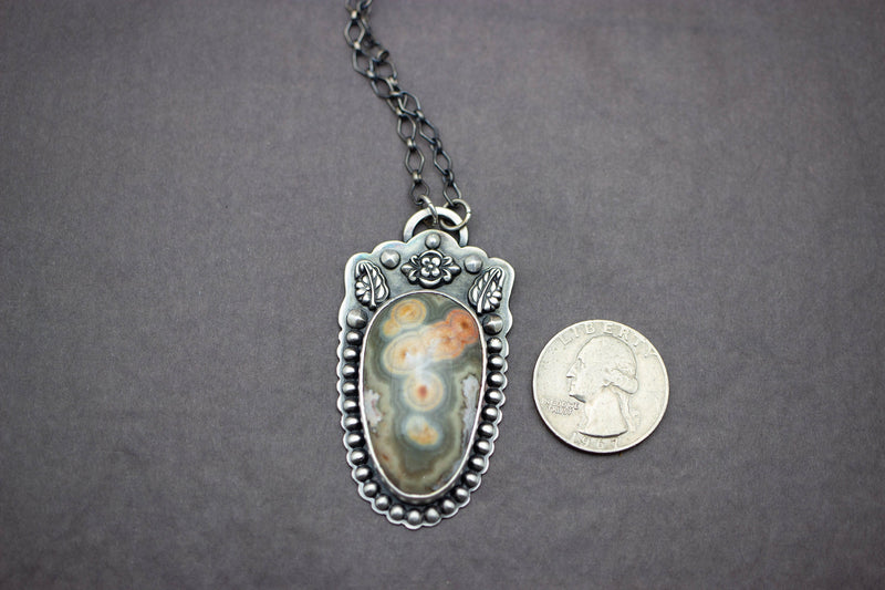 Ocean Jasper Pendant Necklace Sterling Silver