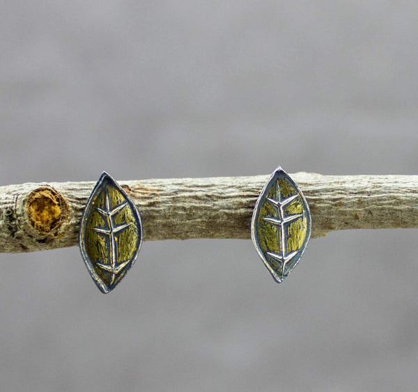 Leaf Stud Earrings Fine and Sterling Silver and 22k Gold