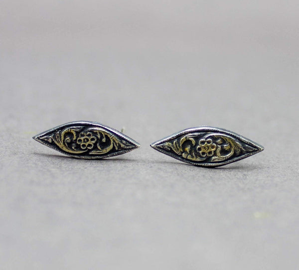 Marquis Flower Stud Earrings Fine and Sterling Silver and 22k Gold