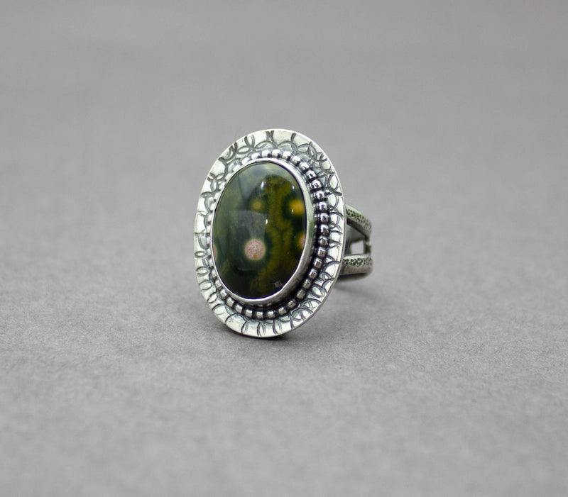 Ocean Jasper Ring Sterling Silver Green and Pink Stone