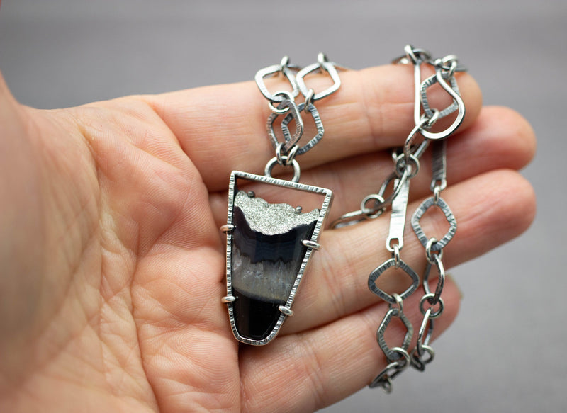 Layers Necklace Platinum Coated Druzy Agate