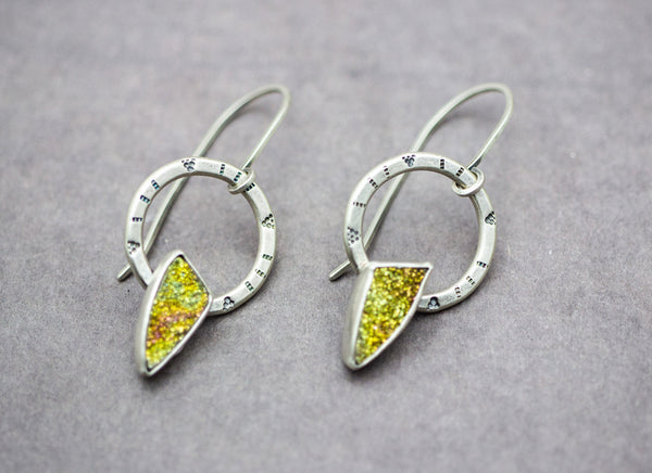 Golden Rainbow Druzy Gemstone Dangle Earrings Sterling Silver