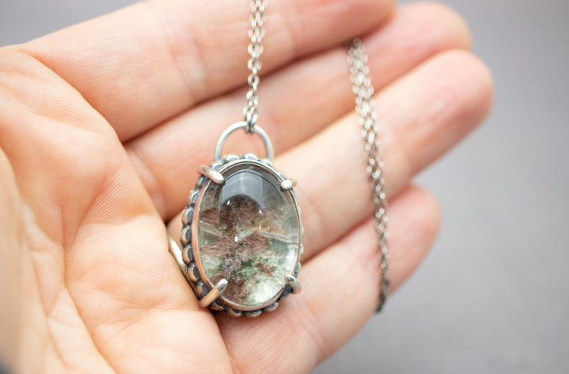 Lodolite or Garden Quartz Pendant Necklace Sterling Silver Boho Artisan Jewelry