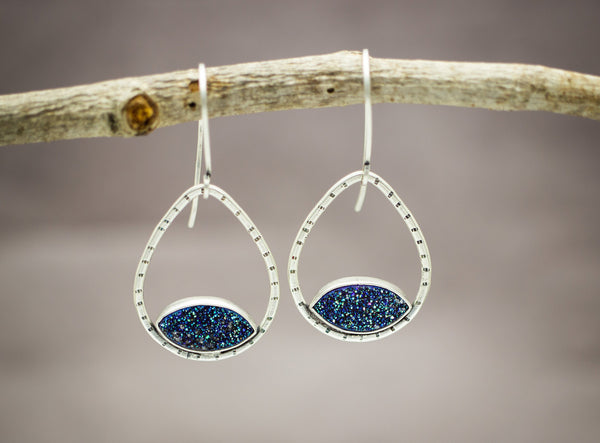Blue Druzy Gemstone Earrings Sterling Silver