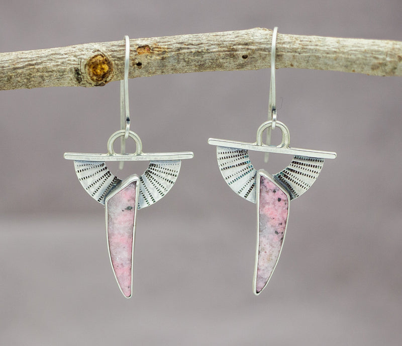 Pink Opal Earrings Gemstone Earrings Dangle Earrings Sterling Silver
