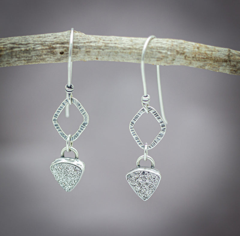 Platinum Druzy Dangle Drop Earrings Sterling Silver