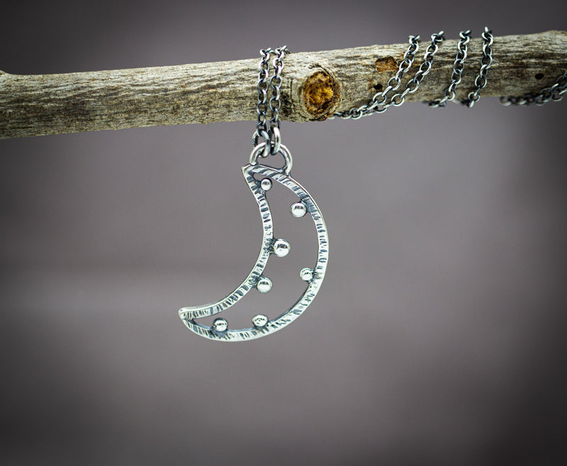 Crescent Moon Necklace Celestial Necklace Sterling Silver