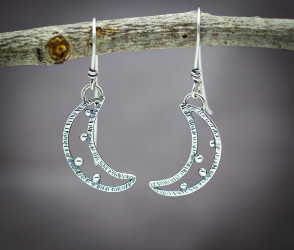 Crescent Moon Earrings Sterling Silver