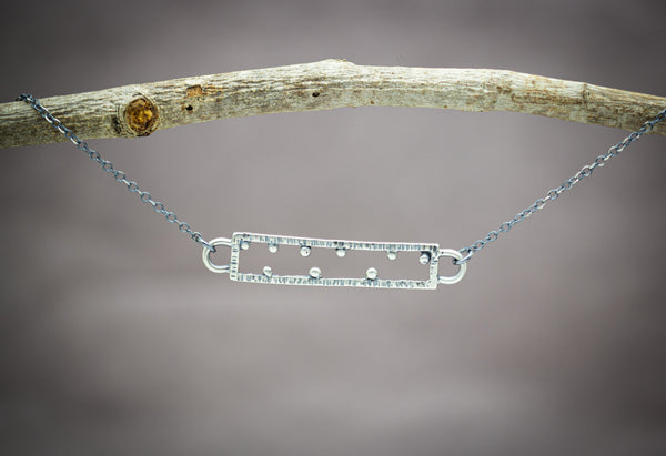 Rectangle Necklace Sterling Silver Small Size