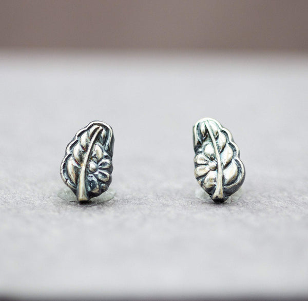 Leaf Stud Earrings Fine and Sterling Silver