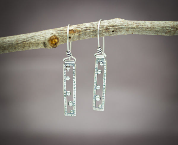 Small Rectangle Earrings Sterling Silver
