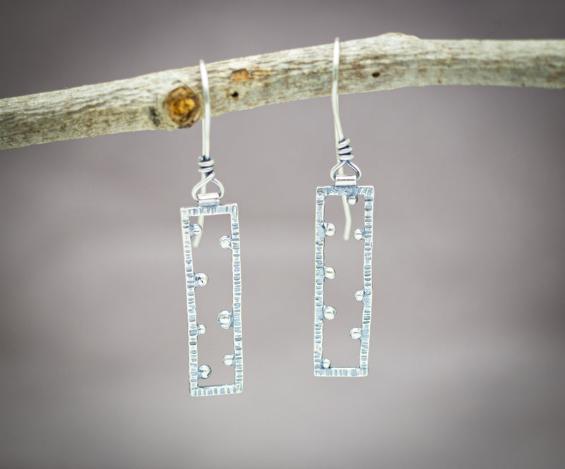Rectangle Earrings Sterling Silver