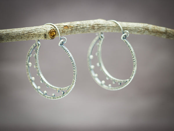 Crescent Moon Earrings Large Hoops Sterling Silver