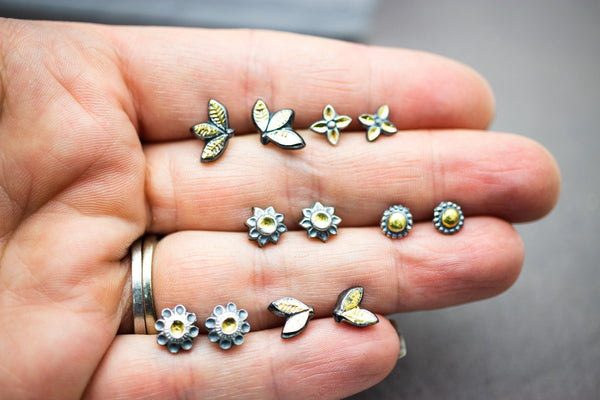 Flower Stud Earrings Fine and Sterling Silver and 22k Gold