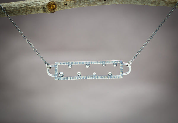 Rectangle Necklace Sterling Silver Large Size