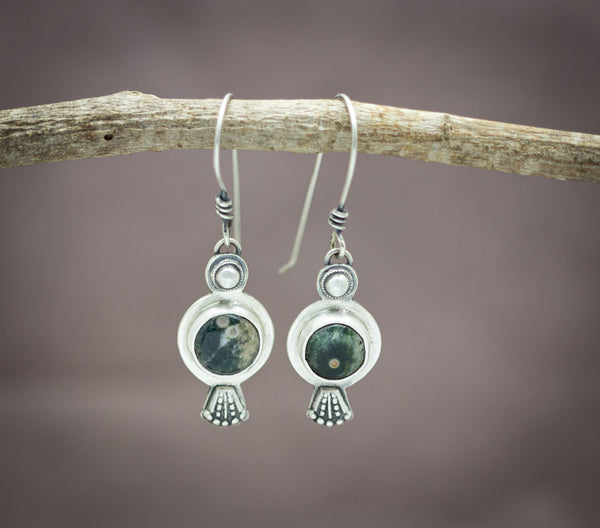 Ocean Jasper Boho Drop Earrings Sterling Silver