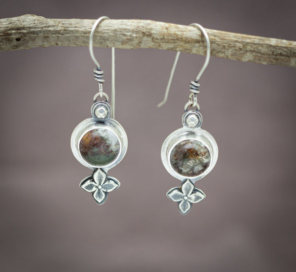 Garden Quartz Boho Drop Earrings Lodolite Sterling Silver