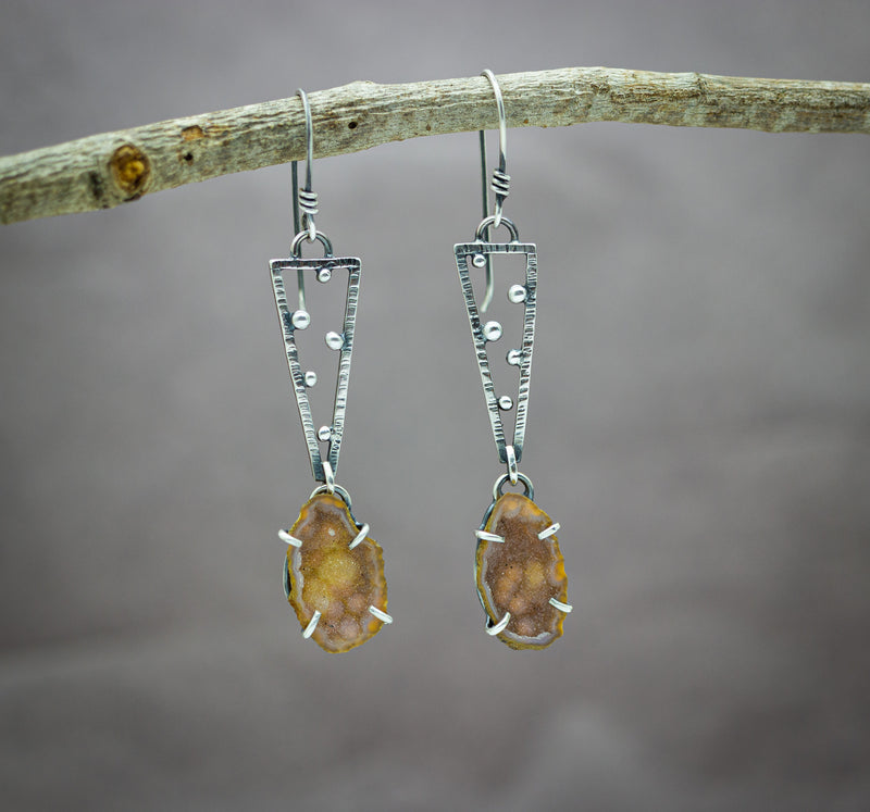 Amber Brown Geode Earrings in Sterling Silver Geometric Style Triangle Earrings