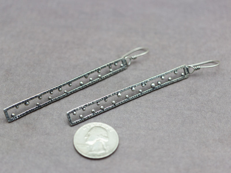 Long Geometric Rectangle Earrings Shoulder Dusters Sterling Silver