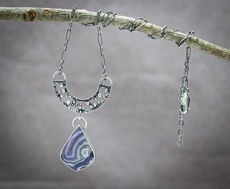 Purple Passion Agate Gemstone Sterling Silver Necklace