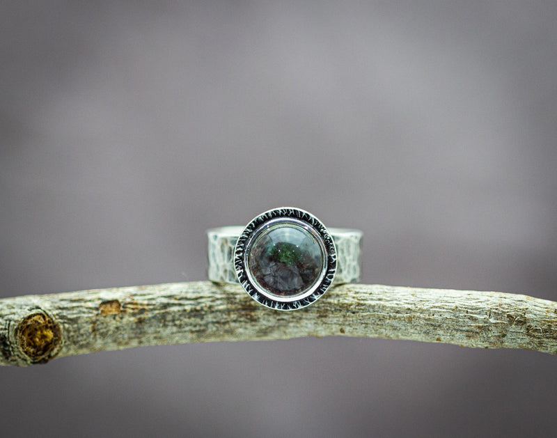 Garden Quartz or Lodolite in Quartz Wide Band Ring Sterling Silver