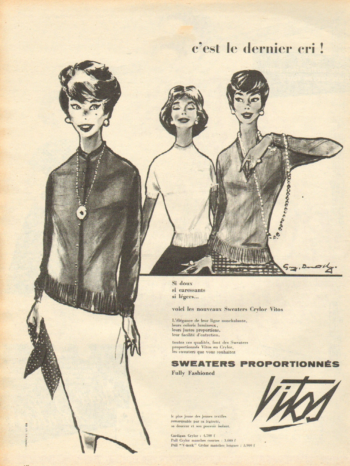 Vitos fully-fashioned sweaters first advertisings in 1958