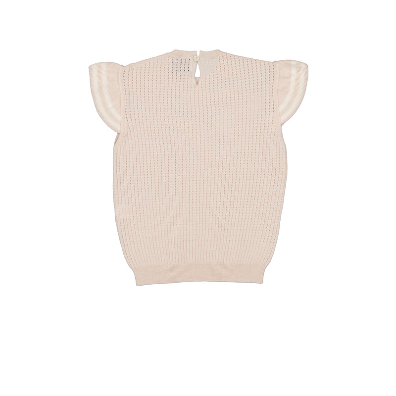 Vitos 1925 VS38 beige color cropped pointelle cashmere top with ruffles on shoulders back view