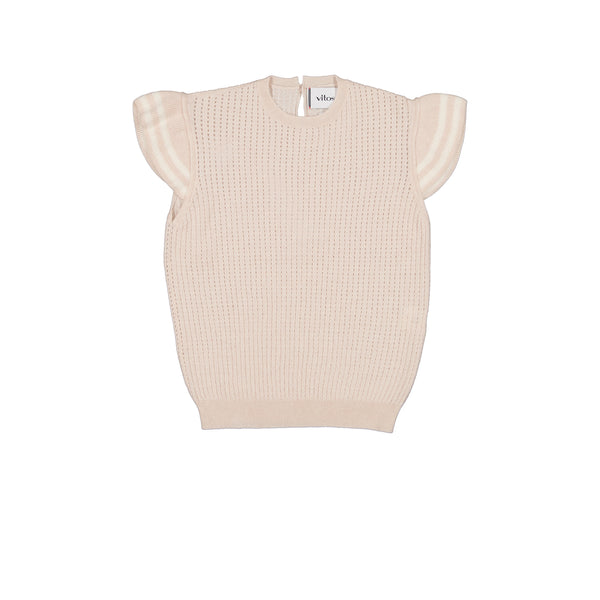 Vitos 1925 VS38 beige color cropped pointelle cashmere top with ruffles on shoulders